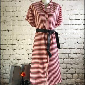Zara Sz XL Red & White Strip Dress Short Sleeve